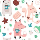 Seamless animal tea time pattern stock photo