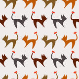 Seamless animal vector pattern, background with cats. Colorful silhouette with red bows over grey backdrop Royalty Free Stock Photos