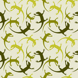 Seamless animal vector pattern, chaotic background with colorful reptiles, silhouettes over light green backdrop Royalty Free Stock Image