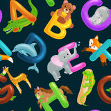 Seamless animals alphabet pattern for kids abc education in preschool. Animals alphabet set for kids abc education in preschool.Cute animals letters english Stock Image