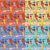 Seamless Animals Pattern. Seamless background or wallpaper design pattern with snakes, bats, cats, birds, fish, lady beetles and pigs. EPS version contains Stock Photos