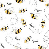 Seamless animals pattern with hand drawn bees. Stock Photo