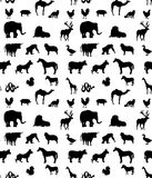 Seamless animals  silhouettes  pattern Royalty Free Stock Images