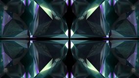 Seamless animation of abstract color changing geometric crystal glass or mirror shape motion graphic background stock video