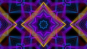 Seamless animation of abstract color changing geometric line shape motion graphic mandala or kaleidoscope decoration background stock video footage