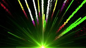 Seamless Animation of abstract colorful green light and fireworks shooting into the sky and with shiny particle trail element in b stock footage