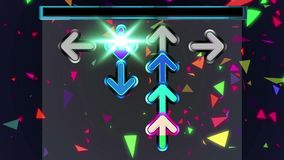 Seamless animation arrows moving up the screen and disappear on the top of screen dancing game concept. Seamless animation arrows moving up the screen and royalty free illustration