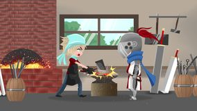 Seamless animation cartoon of a knight warrior in a blacksmith shop making his new sword in fantasy medieval concept stock video footage