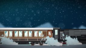 Seamless animation of cartoon train running through snowy winter scene atmosphere in christmas transportation concept in 4k loop stock footage