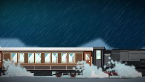 Seamless animation of cartoon train running through various climate landscape atmosphere and season in winte rainy snowy sunny. Seamless animation of cartoon stock video footage