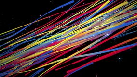 Seamless Animation of 3d colorful rainbow abstract streak spectrum line curve pattern moving smoothly with light shade and star gl stock footage