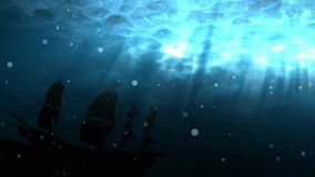 Seamless animation of deep blue ocean with shipwreck background. Ship sunk in undersea water as a silhouette background. With bubbles and light shinning stock video footage