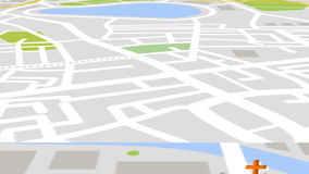 Seamless animation of gps satellite city map and urban landmark location with 3d buildings and real estate bakground