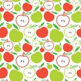Seamless apple background. Vector illustration of apples in green and red Stock Illustration
