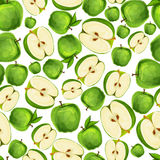 Seamless apple fruit sliced pattern Stock Photos