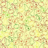 Seamless apple and pear background,  vector pattern Royalty Free Stock Images