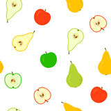 Seamless with apples and pears Stock Photo