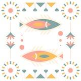 Seamless Arabian felt pattern fish Royalty Free Stock Photo