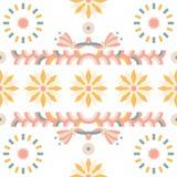 Seamless Arabian felt pattern Sunflower Royalty Free Stock Images
