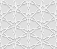 Seamless arabic geometric  pattern, 3D white background, indian ornament Stock Image