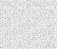 Seamless arabic geometric  pattern, 3D white background, indian ornament, persian motif, vector texture. Endless texture are suita. Ble for web page  background Royalty Free Stock Images