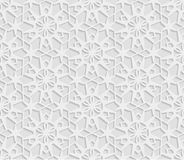 Seamless arabic geometric  pattern, 3D white background, indian ornament, persian motif, vector texture. Endless texture are suita Royalty Free Stock Photography