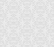 Seamless arabic geometric  pattern, 3D white background, indian ornament Royalty Free Stock Image