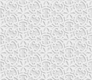 Seamless arabic geometric  pattern, 3D white background, indian ornament Royalty Free Stock Photo