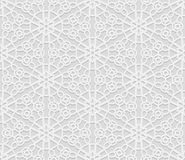 Seamless arabic geometric  pattern, 3D white pattern, indian ornament, persian motif,  vector. Endless texture can be used for wal Stock Images