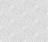 Seamless arabic geometric  pattern, 3D white pattern, indian ornament, persian motif,  vector. Endless texture. Can be used for wallpaper, pattern fills, web Royalty Free Stock Images