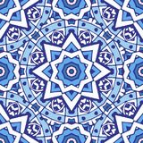 Seamless arabic geometric pattern. Vector hand drawn blue and white background. east culture, indian heritage, arabesque, persian motif Stock Photo