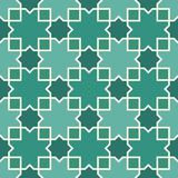 Seamless arabic ornament. Moroccan stars and crosses motif. Arabesque traditional pattern with mosaic tile. stock illustration