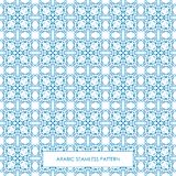Seamless arabic pattern blue. Modern line traditional arabic pattern background design. Ideal for wall decoration, printables and wrapping paper design royalty free illustration