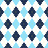 Seamless argyle pattern in dark blue, light blue & white with yellow stitch. Traditional diamond check design for textile & paper prints Stock Image