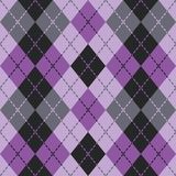 Dashed Argyle in Purple and Black. Seamless argyle pattern with dashed lines in shades of purple and black Stock Photos