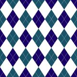 Seamless argyle pattern in shades of dark blue with white stitch. Vector illustration stock illustration