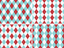 Seamless Argyle Patterns Aqua Blue, Red with Solid Silver Line. Four Seamless Argyle Patterns in Aqua Blue, Dark Red, and White with Solid Silver line. Vector Royalty Free Stock Photography