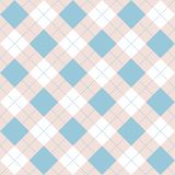 Seamless argyle plaid blue pattern. Diamond check royalty free illustration
