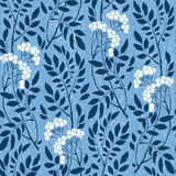 Seamless Art Deco vintage pattern sprigs and berries Royalty Free Stock Images