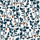 Seamless Art Deco vintage pattern sprigs and berries Stock Photography