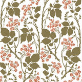 Seamless Art Deco vintage pattern sprigs and berries Stock Image