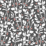 Seamless Art Deco vintage pattern sprigs and berries Stock Photo