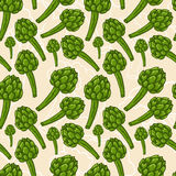 Seamless artichoke background Stock Images