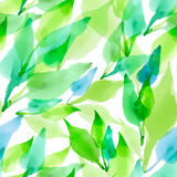 Seamless  artistic design watercolor leaves pattern Royalty Free Stock Photo