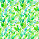 Seamless  artistic design watercolor leaves pattern Stock Image