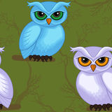 Seamless artwork pattern with cartoon owls Royalty Free Stock Photography