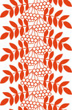 Seamless  ashberry autumn pattern with rowan berries and leaves. Fall orange floral background. Stock Photo