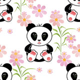 Seamless asia panda bear kids illustration background pattern Stock Images