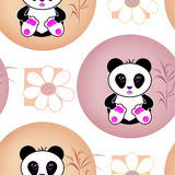 Seamless asia panda bear kids illustration background pattern Royalty Free Stock Photography