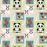 Seamless asia panda bear kids patchwork design background patter Stock Images